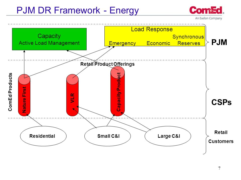 8 PJM DR Framework – Other Providers Capacity Active Load Management Load Response Synchronous Emergency Economic Reserves PJM CSPs Retail Customers Retail Product Offerings ResidentialSmall C&ILarge C&I ComEd Products Other CSPs Nature First CSP X VLR CSP Y Capacity Product