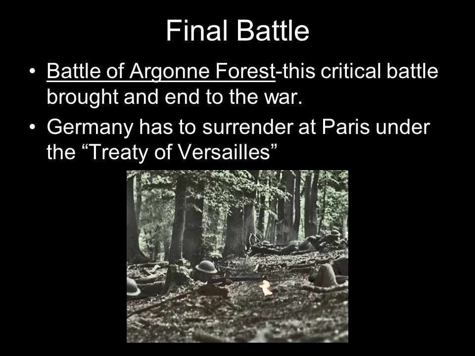 Final Battle Battle of Argonne Forest-this critical battle brought and end to the war. Germany has to surrender at Paris under the Treaty of Versaille