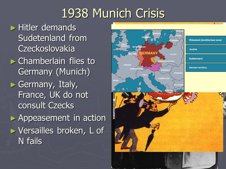 1938 Munich Crisis Hitler demands Sudetenland from Czeckoslovakia Hitler demands Sudetenland from Czeckoslovakia Chamberlain flies to Germany (Munich)