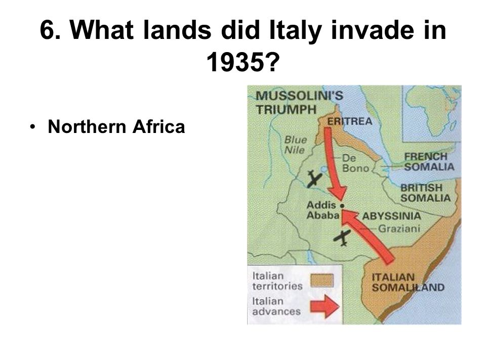 6. What lands did Italy invade in 1935 Northern Africa