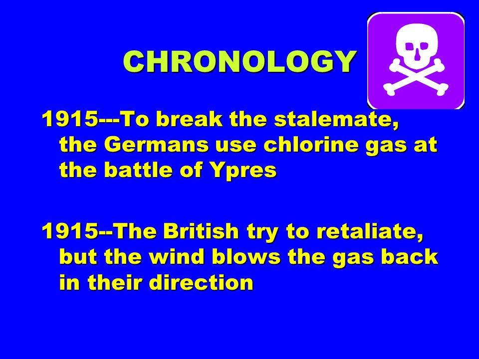 Chemical Warfare FIRST USED: April 22, 1915 First Battle of Ypres (chlorine gas)