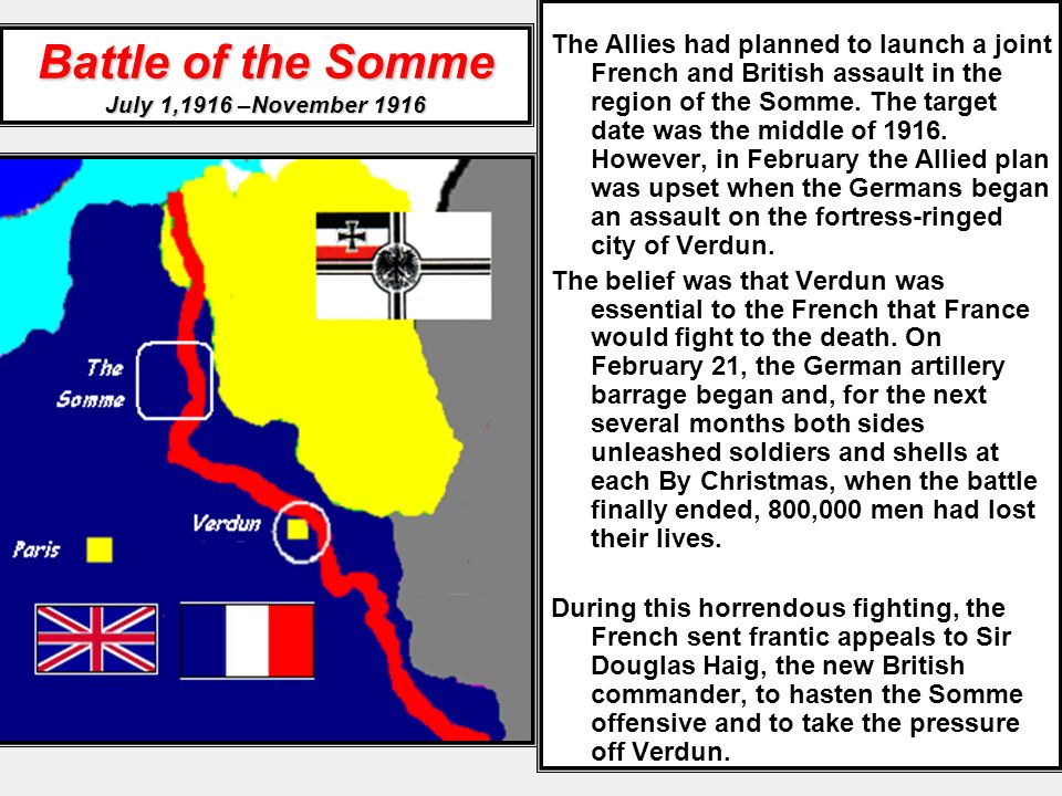 Battle of the Somme July 1,1916 –November 1916 The Allies had planned to launch a joint French and British assault in the region of the Somme. The tar