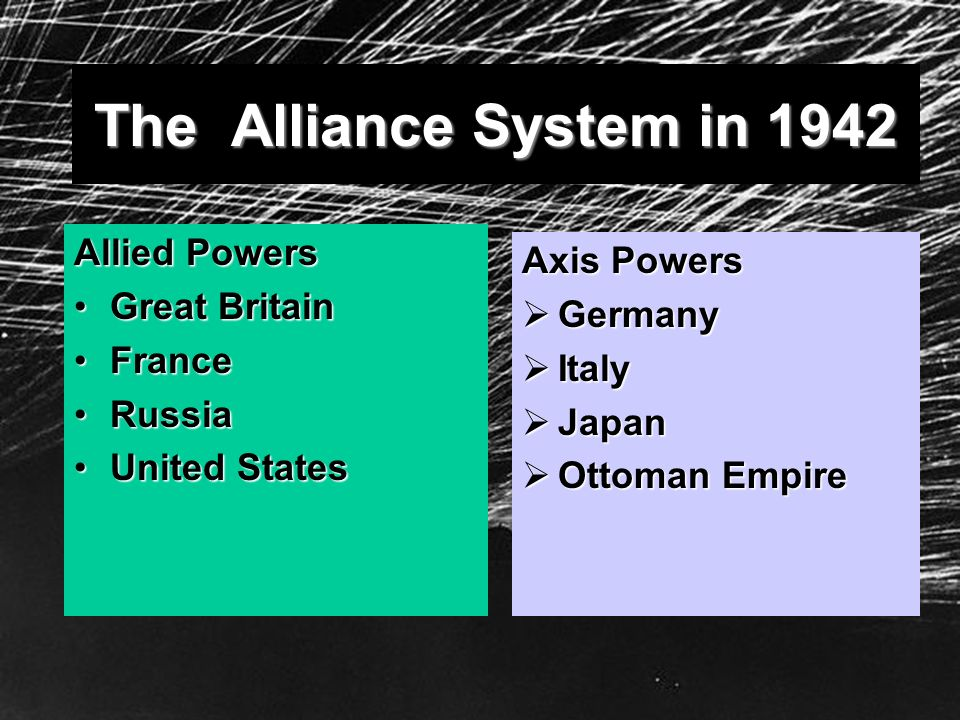 The Alliance System in 1942 Allied Powers Great BritainGreat Britain FranceFrance RussiaRussia United StatesUnited States Axis Powers Germany Germany