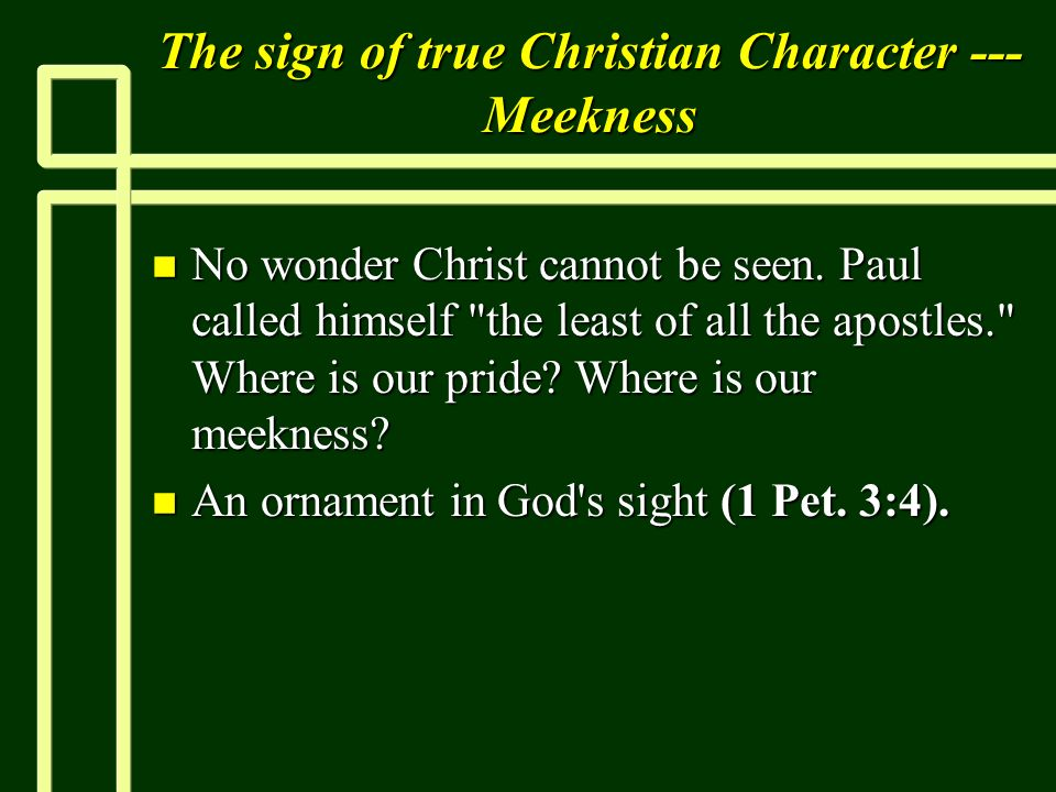 The sign of true Christian Character --- Meekness n No wonder Christ cannot be seen. Paul called himself