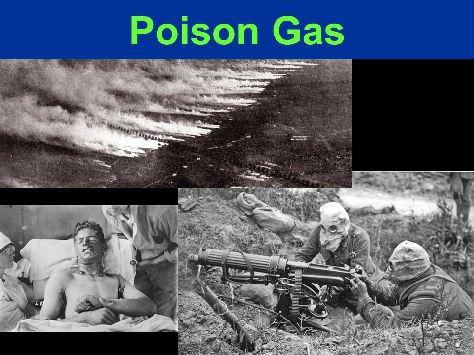 Throughout the war, the use of gases such as Mustard and Chlorine were launched by either side.