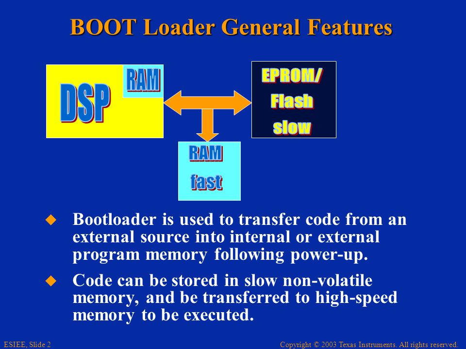Copyright © 2003 Texas Instruments. All rights reserved. ESIEE, Slide 2 BOOT Loader General Features Bootloader is used to transfer code from an exter