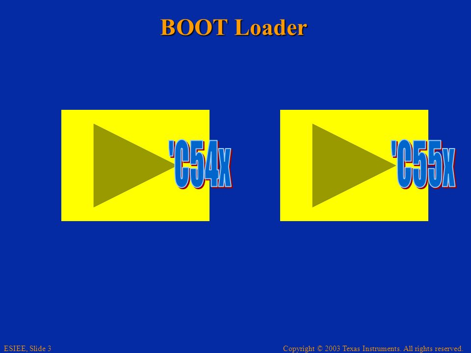 Copyright © 2003 Texas Instruments. All rights reserved. ESIEE, Slide 3 BOOT Loader