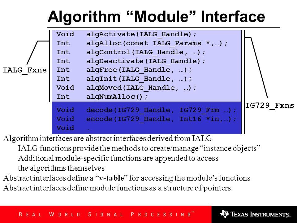 algNumAlloc return maximum number of memory requests algAlloc return all memory allocation requests to application algInitObj initialize allocated ins