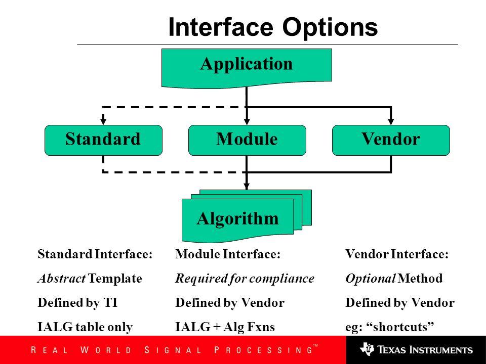 IALG_Fxns Void algActivate(IALG_Handle); IntalgAlloc(const IALG_Params *,…); IntalgControl(IALG_Handle, …); IntalgDeactivate(IALG_Handle); IntalgFree(