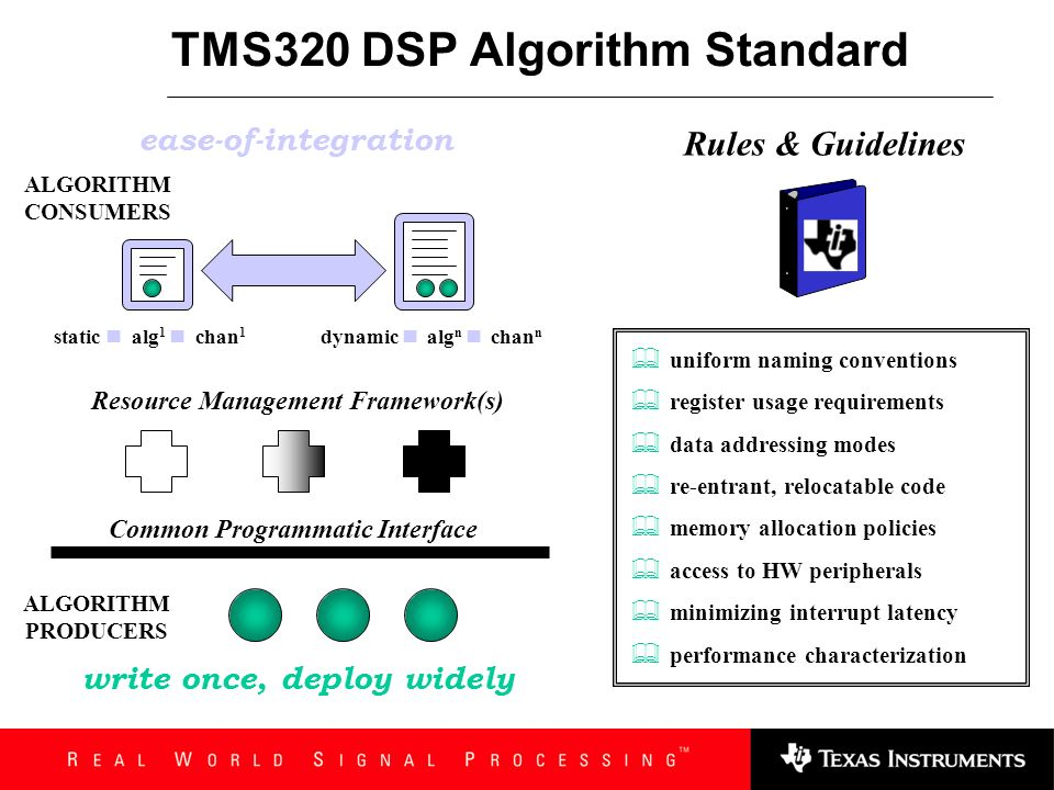 Agenda Overview Interactions with eXpressDSP Technologies Rationalization and Benefits