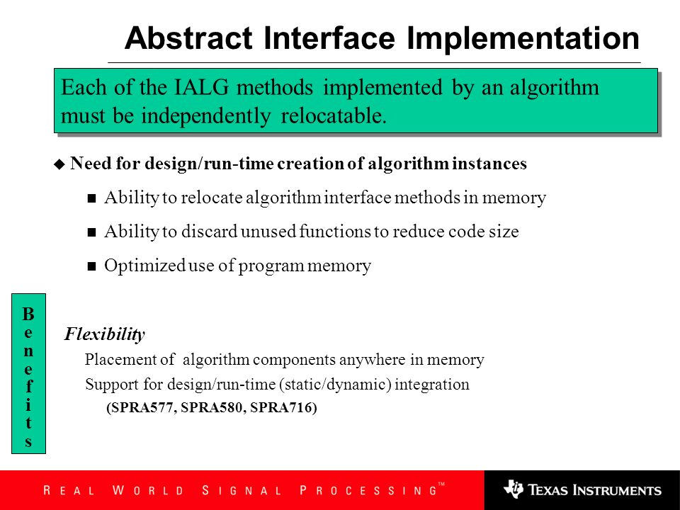 Abstract Interface Implementation Defines communication protocol between client and algorithm Enables client to create, manage and terminate algorithm