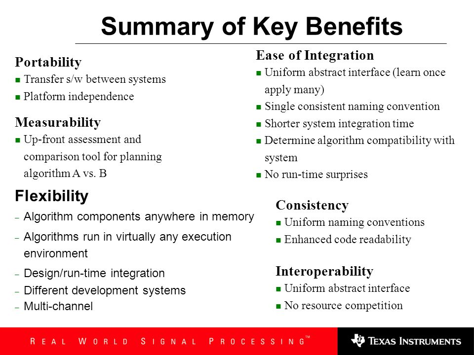 Performance and Requirements Metrics BenefitsBenefits Measurability Up-front assessment and comparison tool Ease of integration Determine algorithm co