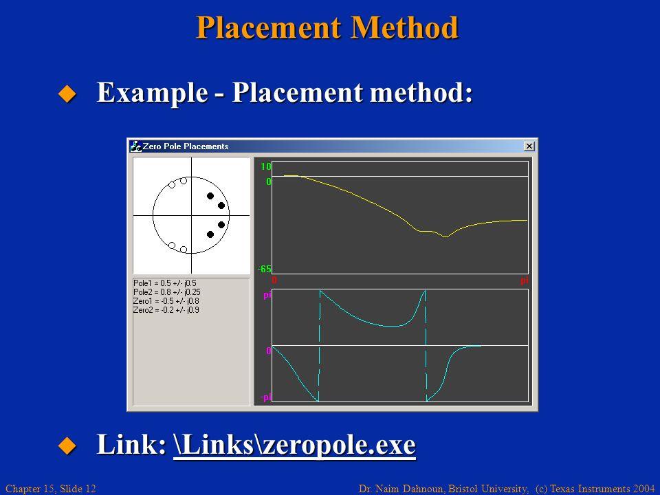 Dr. Naim Dahnoun, Bristol University, (c) Texas Instruments 2004 Chapter 15, Slide 12 Placement Method Example - Placement method: Example - Placement