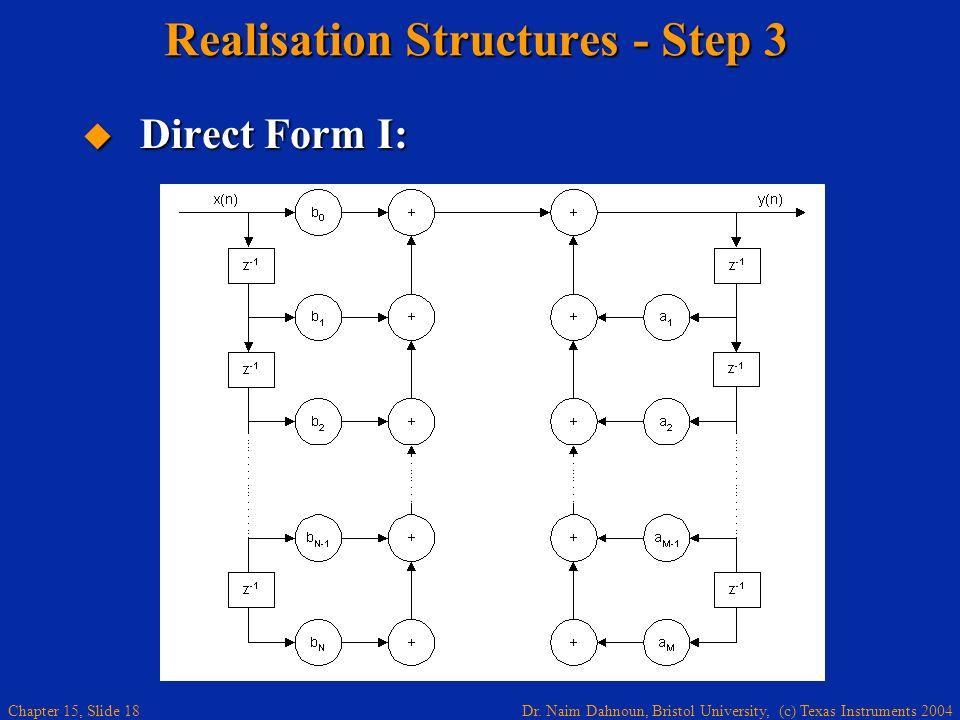 Dr. Naim Dahnoun, Bristol University, (c) Texas Instruments 2004 Chapter 15, Slide 18 Realisation Structures - Step 3 Direct Form I: Direct Form I: