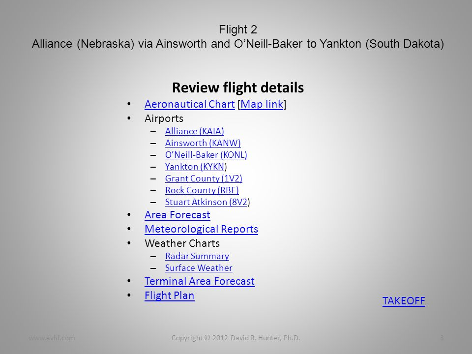 Flight 2 Alliance (Nebraska) via Ainsworth and ONeill-Baker to Yankton (South Dakota) Review flight details Aeronautical Chart [Map link] Aeronautical ChartMap link Airports – Alliance (KAIA) Alliance (KAIA) – Ainsworth (KANW) Ainsworth (KANW) – ONeill-Baker (KONL) ONeill-Baker (KONL) – Yankton (KYKN) Yankton (KYKN – Grant County (1V2) Grant County (1V2) – Rock County (RBE) Rock County (RBE) – Stuart Atkinson (8V2) Stuart Atkinson (8V2 Area Forecast Meteorological Reports Weather Charts – Radar Summary Radar Summary – Surface Weather Surface Weather Terminal Area Forecast Flight Plan Copyright © 2012 David R.