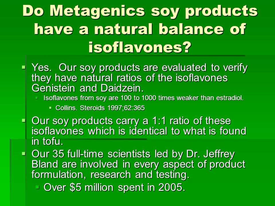 Do Metagenics soy products have a natural balance of isoflavones.