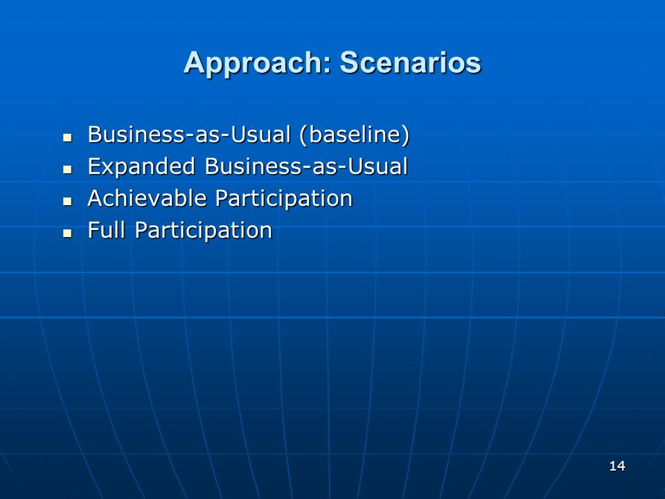 14 Approach: Scenarios Business-as-Usual (baseline) Business-as-Usual (baseline) Expanded Business-as-Usual Expanded Business-as-Usual Achievable Part