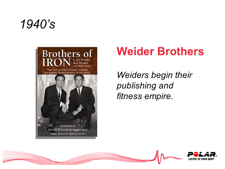 1940s Weider Brothers Weiders begin their publishing and fitness empire.