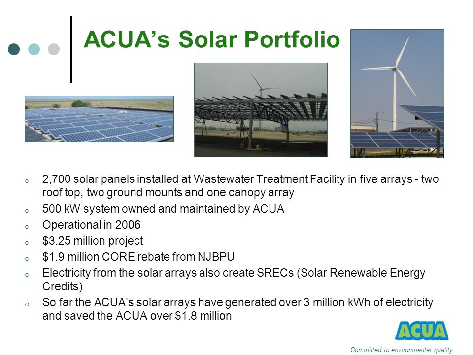 ACUAs Solar Portfolio o 2,700 solar panels installed at Wastewater Treatment Facility in five arrays - two roof top, two ground mounts and one canopy