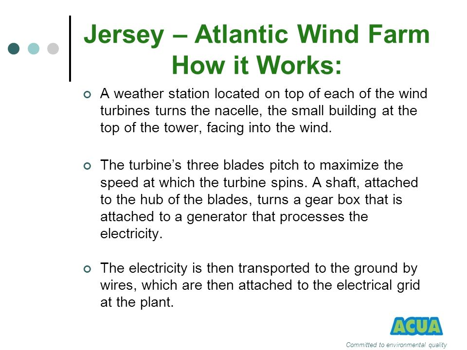 Jersey – Atlantic Wind Farm How it Works: A weather station located on top of each of the wind turbines turns the nacelle, the small building at the t