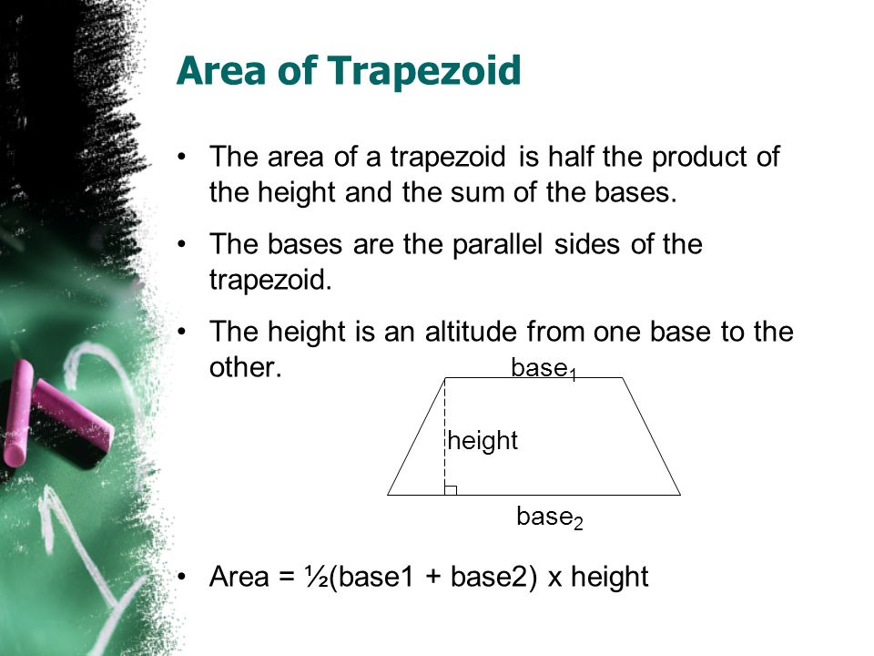 Area of Trapezoid The area of a trapezoid is half the product of the height and the sum of the bases. The bases are the parallel sides of the trapezoi