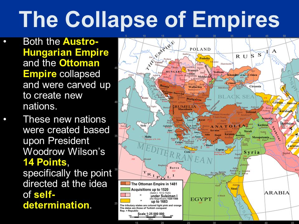 Both the Austro- Hungarian Empire and the Ottoman Empire collapsed and were carved up to create new nations. These new nations were created based upon