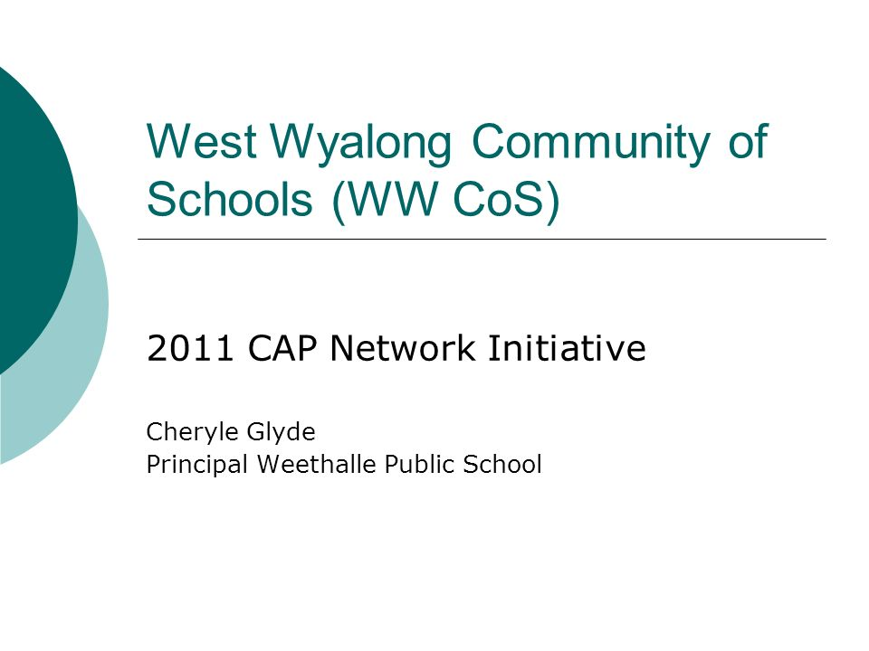 West Wyalong Community of Schools (WW CoS) 2011 CAP Network Initiative Cheryle Glyde Principal Weethalle Public School