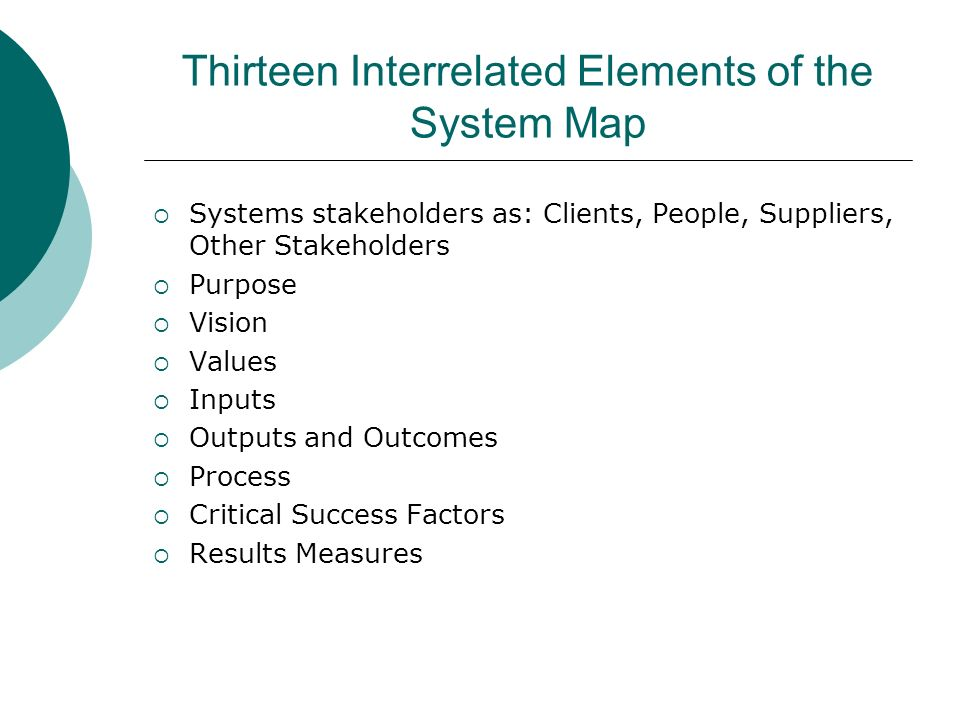 Thirteen Interrelated Elements of the System Map Systems stakeholders as: Clients, People, Suppliers, Other Stakeholders Purpose Vision Values Inputs