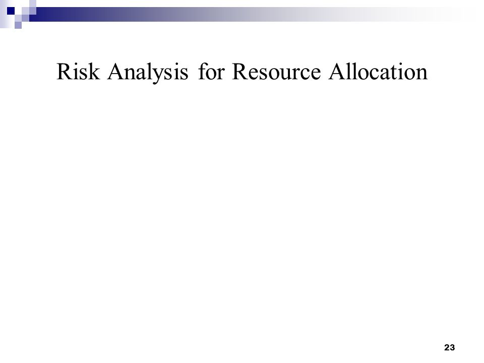 Risk Analysis for Resource Allocation 23