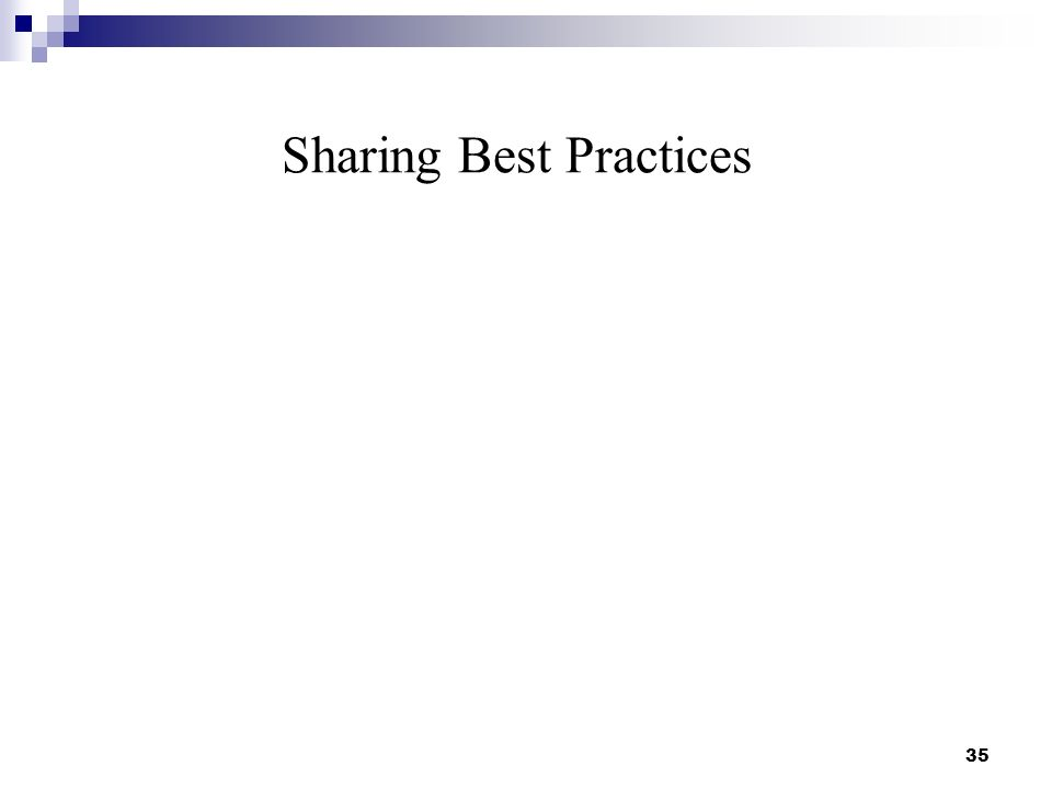 Sharing Best Practices 35
