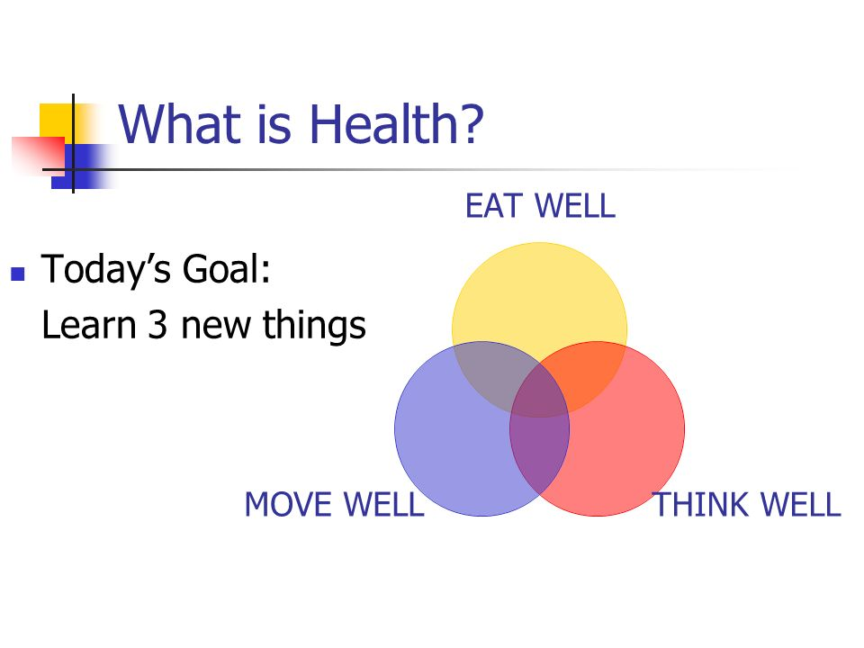 What is Health? EAT WELL THINK WELL MOVE WELL Todays Goal: Learn 3 new things
