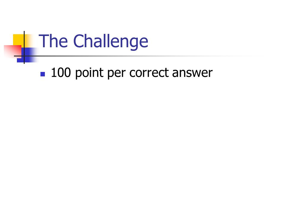 100 point per correct answer The Challenge