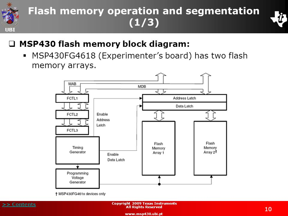 UBI >> Contents 10 Copyright 2009 Texas Instruments All Rights Reserved www.msp430.ubi.pt Flash memory operation and segmentation (1/3) MSP430 flash m