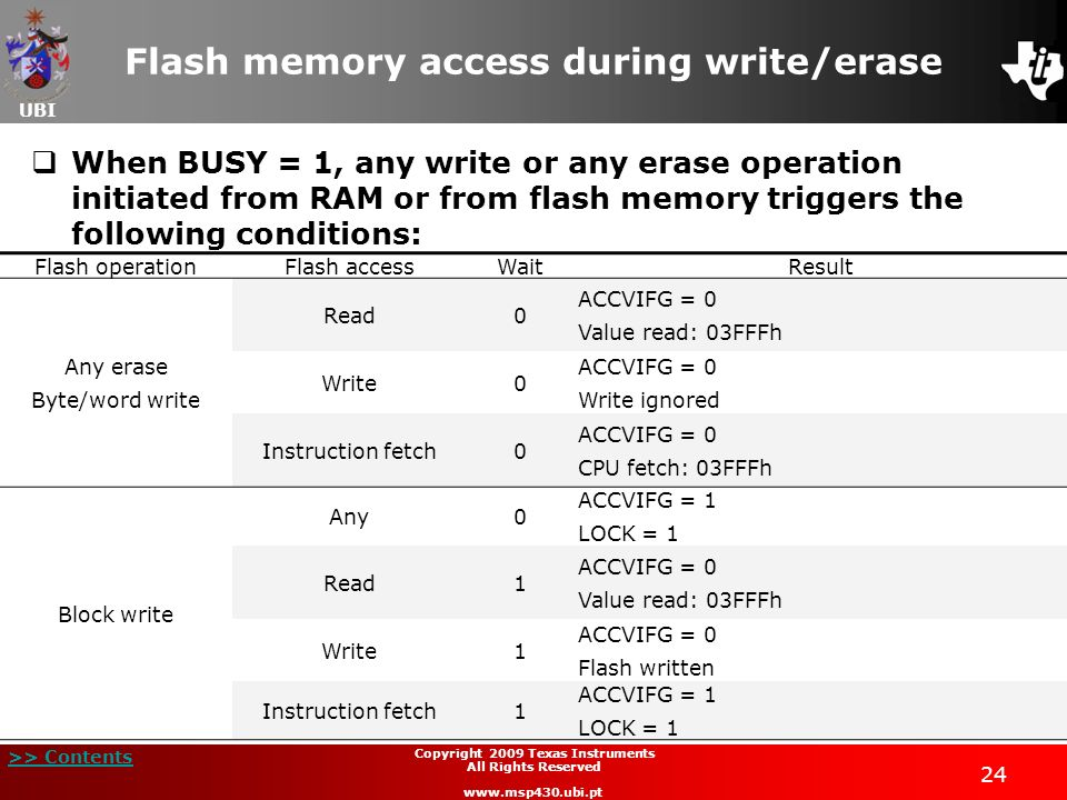 UBI >> Contents 24 Copyright 2009 Texas Instruments All Rights Reserved www.msp430.ubi.pt Flash memory access during write/erase When BUSY = 1, any wr