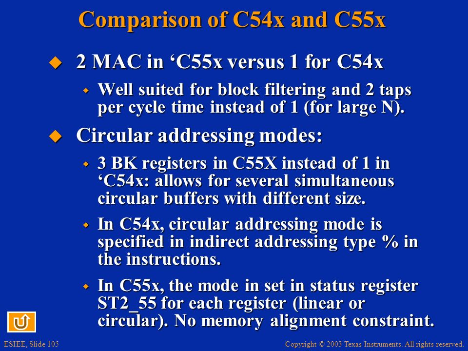 Copyright © 2003 Texas Instruments. All rights reserved. ESIEE, Slide 105 Comparison of C54x and C55x 2 MAC in C55x versus 1 for C54x 2 MAC in C55x ve