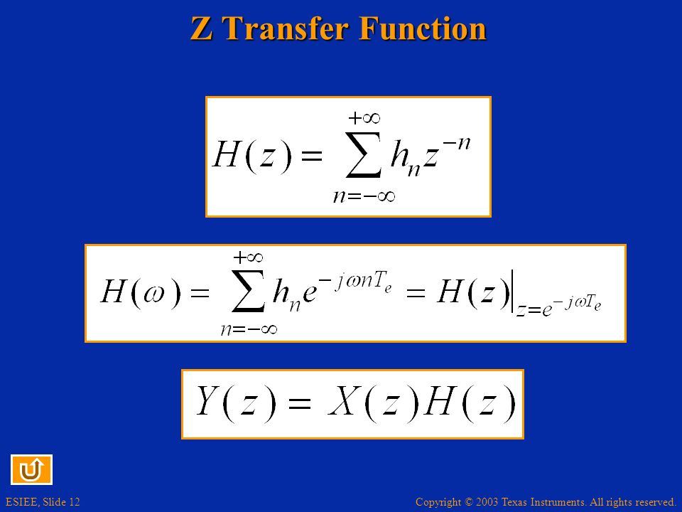Copyright © 2003 Texas Instruments. All rights reserved. ESIEE, Slide 12 Z Transfer Function
