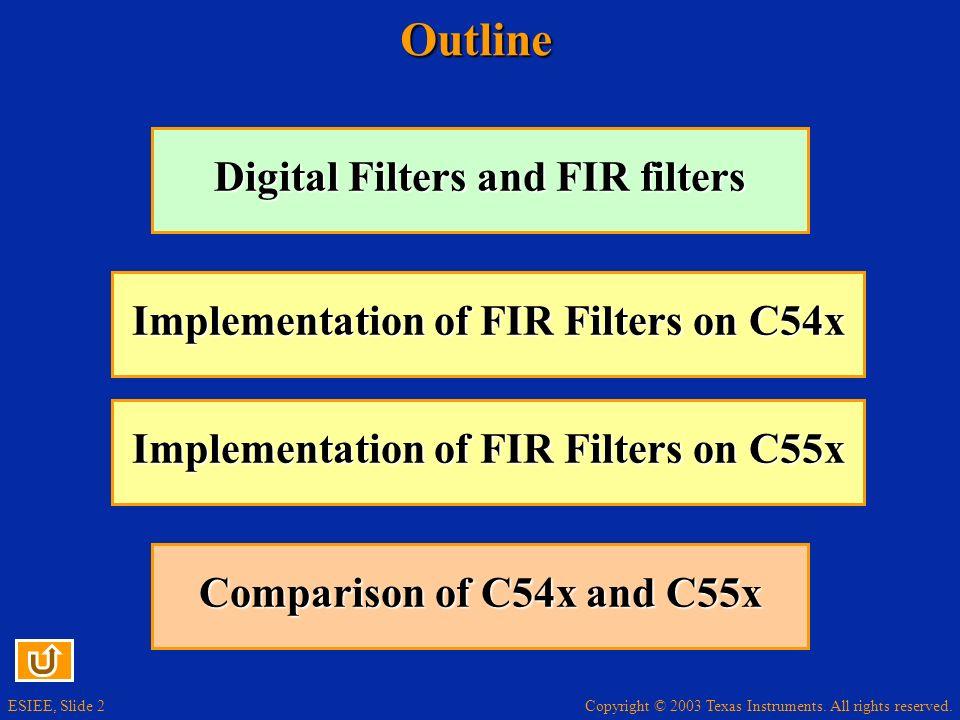 ESIEE, Slide 2Outline Digital Filters and FIR filters Digital Filters and FIR filters Implementation of FIR Filters on C54x Implementation of FIR Filt