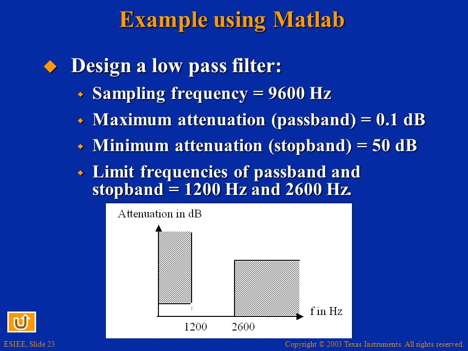 Copyright © 2003 Texas Instruments. All rights reserved. ESIEE, Slide 23 Example using Matlab Design a low pass filter: Design a low pass filter: Samp