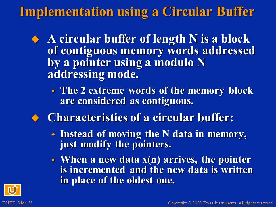 Copyright © 2003 Texas Instruments. All rights reserved. ESIEE, Slide 53 Implementation using a Circular Buffer A circular buffer of length N is a blo