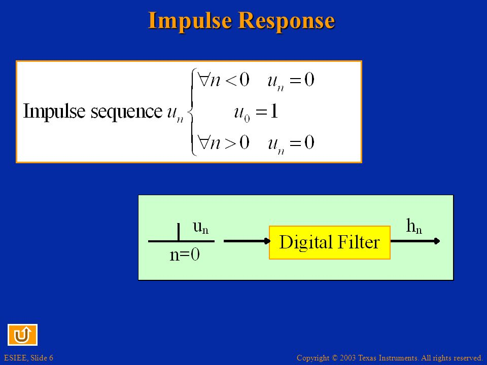 Copyright © 2003 Texas Instruments. All rights reserved. ESIEE, Slide 6 Impulse Response