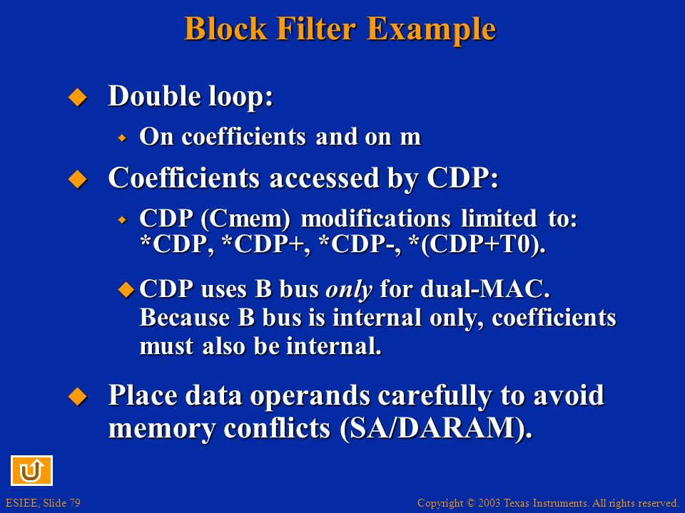 Copyright © 2003 Texas Instruments. All rights reserved. ESIEE, Slide 79 Block Filter Example Double loop: Double loop: On coefficients and on m On co