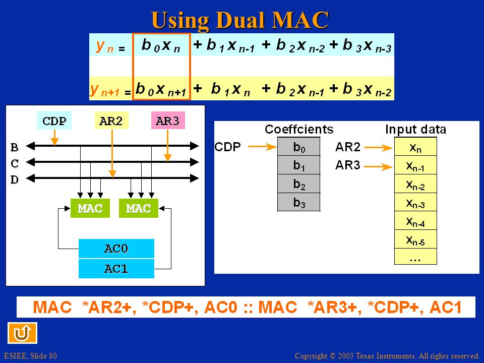 Copyright © 2003 Texas Instruments. All rights reserved. ESIEE, Slide 80 Using Dual MAC