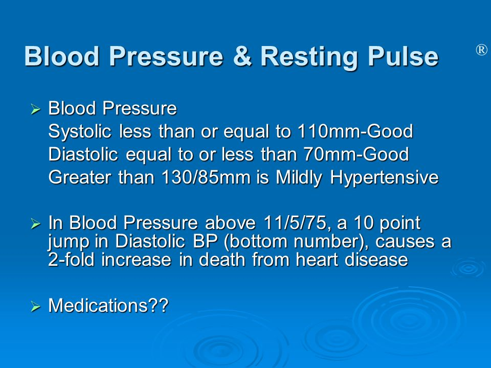 ® Blood Pressure & Resting Pulse Blood Pressure Blood Pressure Systolic less than or equal to 110mm-Good Diastolic equal to or less than 70mm-Good Gre
