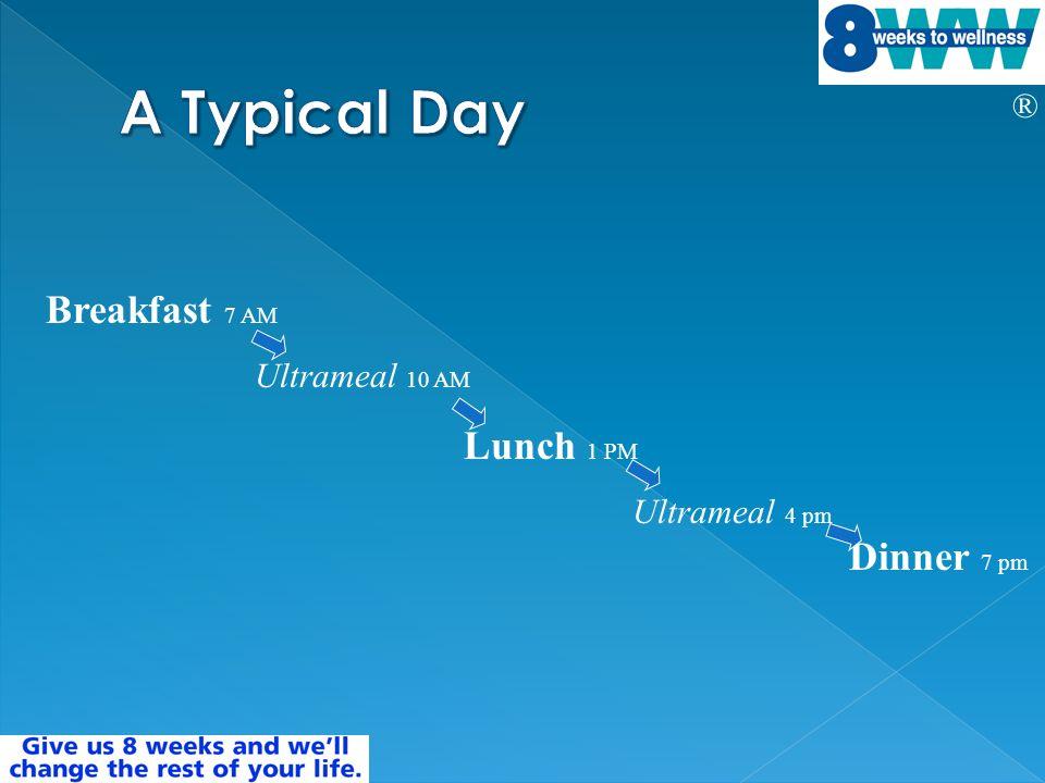 ® Breakfast 7 AM Ultrameal 10 AM Lunch 1 PM Ultrameal 4 pm Dinner 7 pm