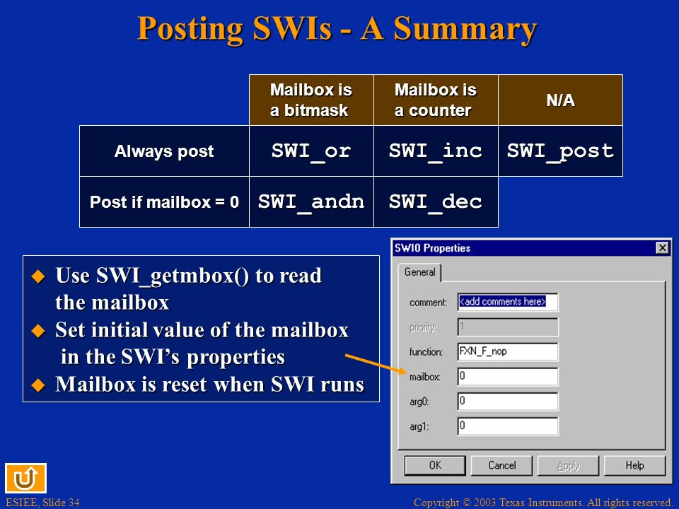 ESIEE, Slide 34 Copyright © 2003 Texas Instruments. All rights reserved. Posting SWIs - A Summary Always post SWI_orSWI_inc Post if mailbox = 0 SWI_an
