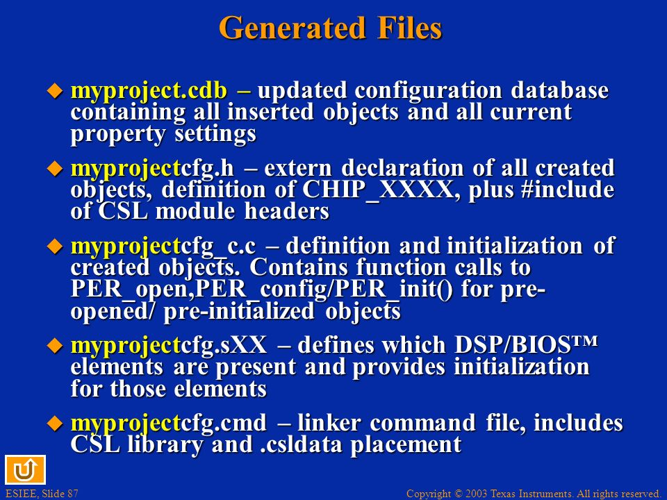 ESIEE, Slide 87 Copyright © 2003 Texas Instruments. All rights reserved. Generated Files myproject.cdb – updated configuration database containing all