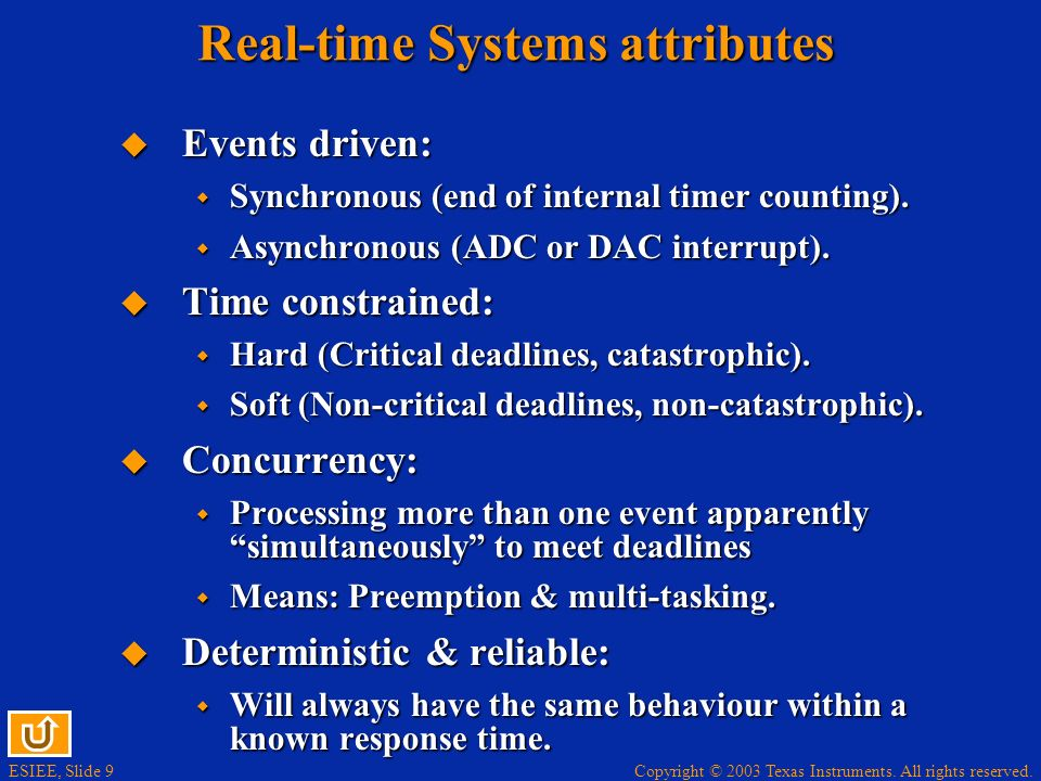 ESIEE, Slide 9 Copyright © 2003 Texas Instruments. All rights reserved. Real-time Systems attributes Events driven: Events driven: Synchronous (end of