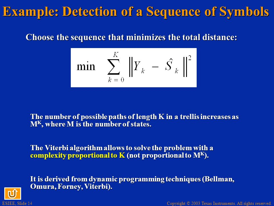 Copyright © 2003 Texas Instruments. All rights reserved. ESIEE, Slide 14 Example: Detection of a Sequence of Symbols Choose the sequence that minimize