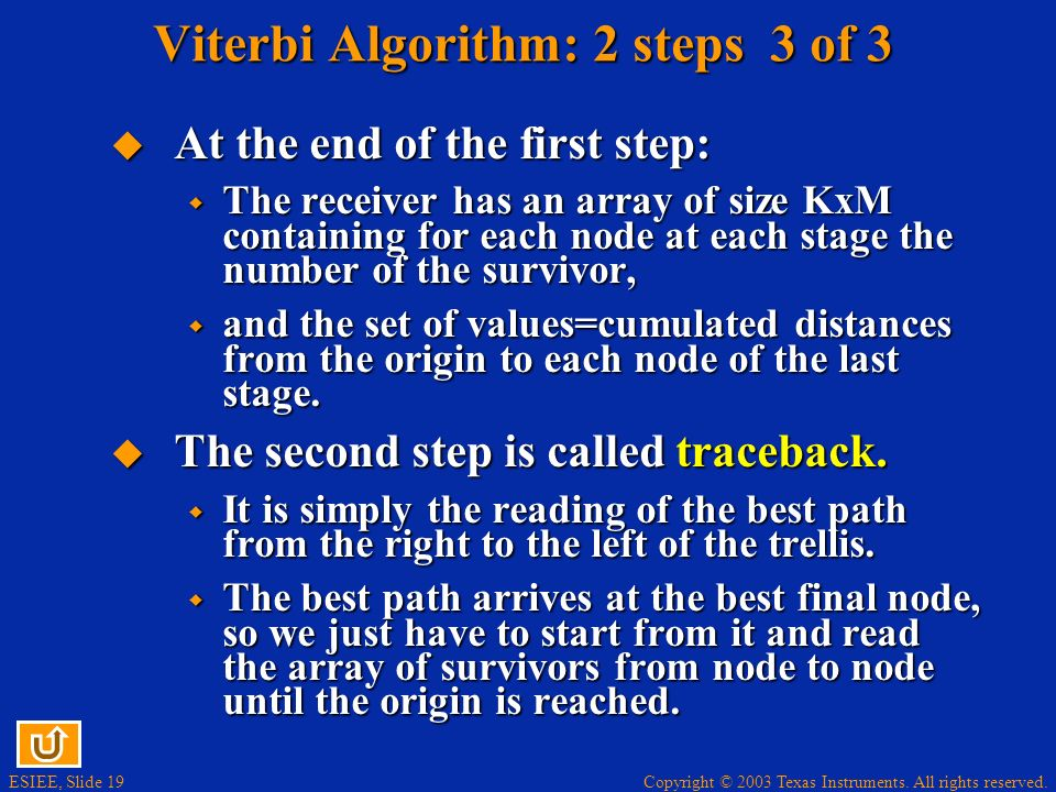Copyright © 2003 Texas Instruments. All rights reserved. ESIEE, Slide 19 Viterbi Algorithm: 2 steps 3 of 3 At the end of the first step: At the end of