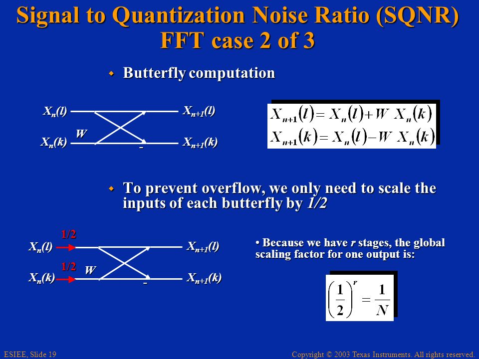 Copyright © 2003 Texas Instruments. All rights reserved. ESIEE, Slide 19 Signal to Quantization Noise Ratio (SQNR) FFT case 2 of 3 Butterfly computati